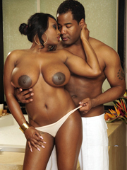 Ebony BBW with natural big tits fucking in the bathroom