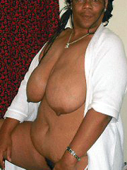 Seventy black granny with big saggy tits